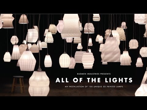 All of the Lights - An Installation of 100 Unique 3D Printed Lamps