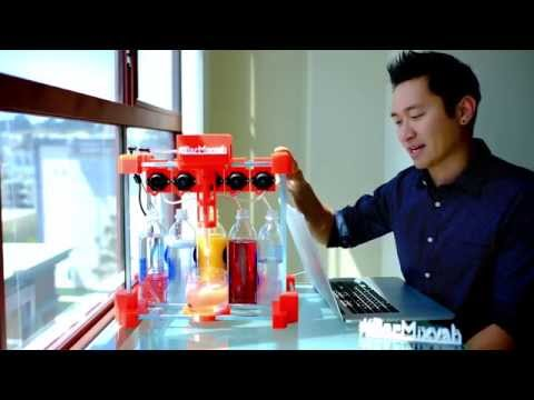3d printed bartender robot named Bar Mixvah makes a drink!