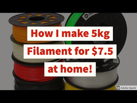 Make filament at home. $1.5 per spool! 5kg filament for $7.5