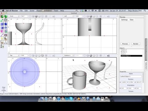 Art of Illusion tutorial 02: Boolean and Lathe tools