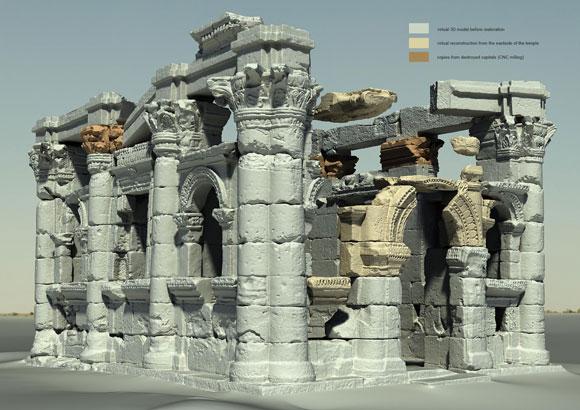 3D-Modell des Tempels mit Rekonstruktionen