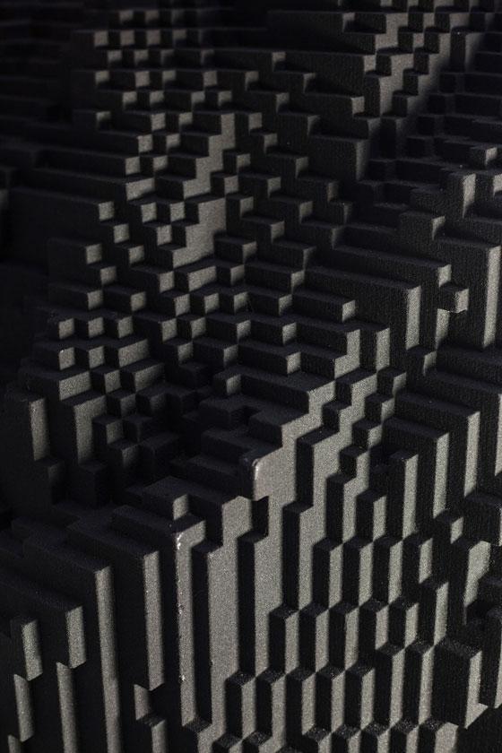 Oberfläche der Skulptur von Janus, Miguel Chevalier