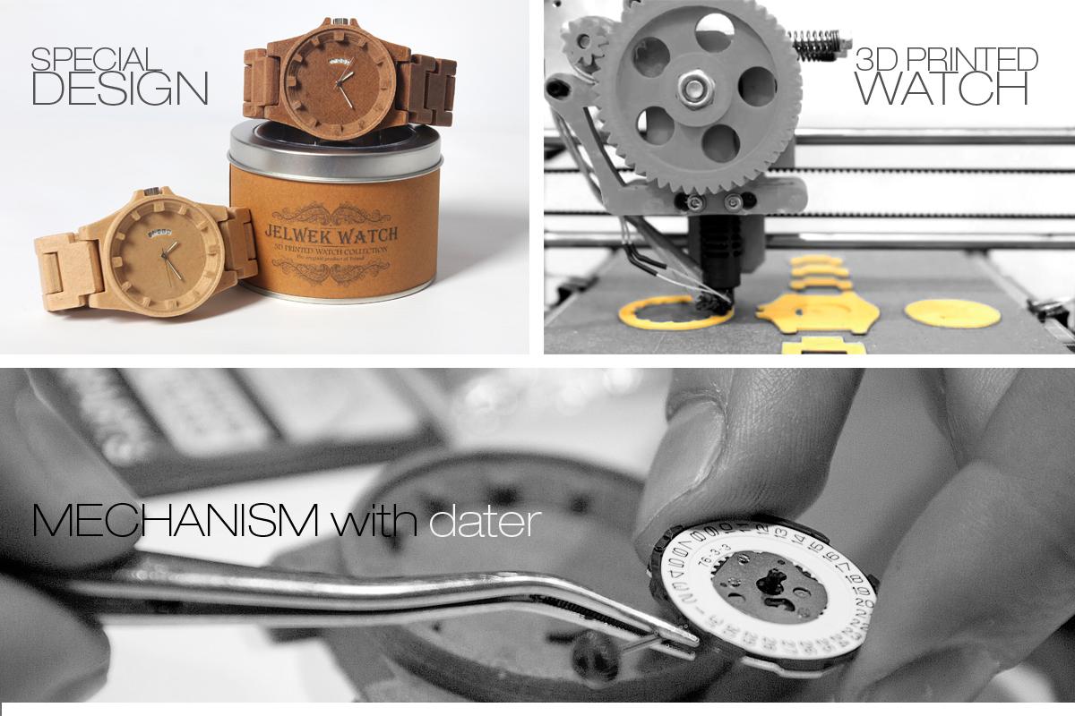 jelwek watch 3d druck armbanduhr1 - Jelwek Watch: 3D-gedruckte Armbanduhr aus Holz