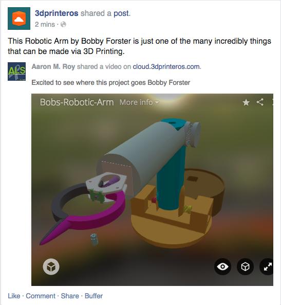 Facebook Sharing 3D Models - Sketchfab - 3DPrinterOS