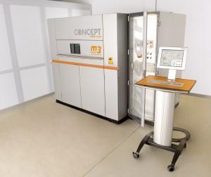 Die M3 linear, der weltweit erste industrielle 3D-Metalldrucker, vorgestellt erstmalig auf der Euromold 2001