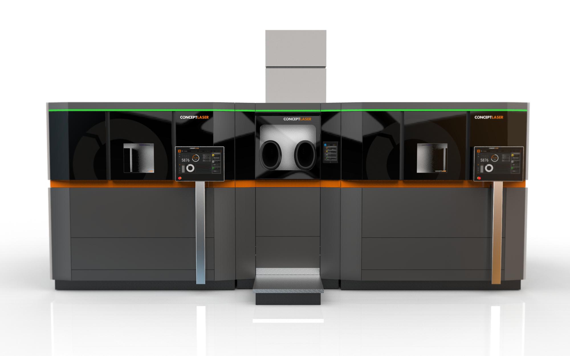 Option zur Kombination einer Handling-Station mit zwei Prozess-Stationen, Bild: Concept Laser