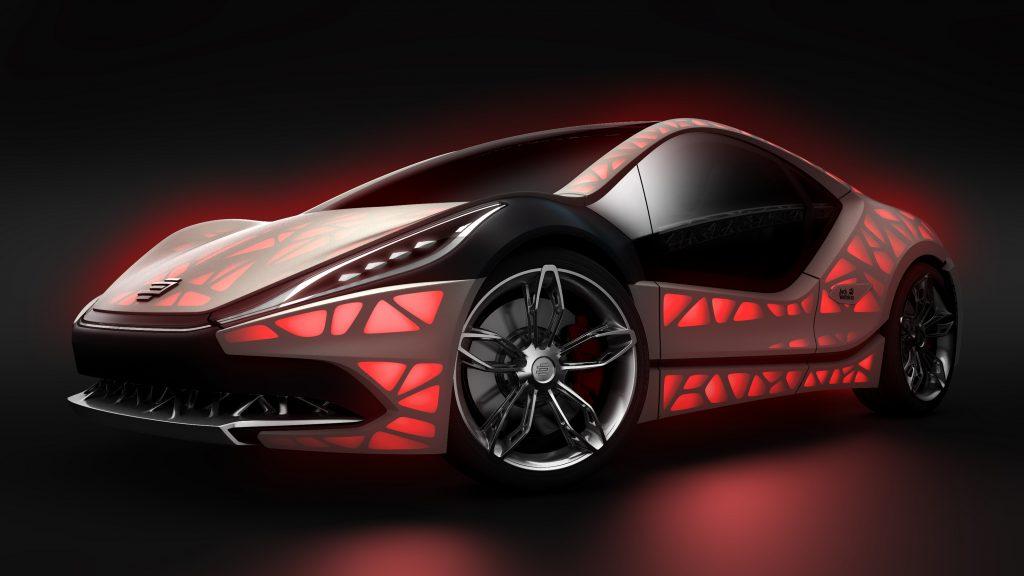 """Das von EDAG auf dem Genfer Autosalon im März 2015 sowie auf der Internationalen Automobilausstellung IAA im September 2015 in Frankfurt präsentierte Concept Car """"EDAG Light Cocoon"""". Der """"EDAG Light Cocoon"""" ist ein visionärer Ansatz eines kompakten Sportwagens mit einer umfassend bionisch optimierten und generativ gefertigten Fahrzeugstruktur, die mit einer Außenhaut aus wetterbeständigem Textil und variablem Lichtdesign kombiniert wird."""