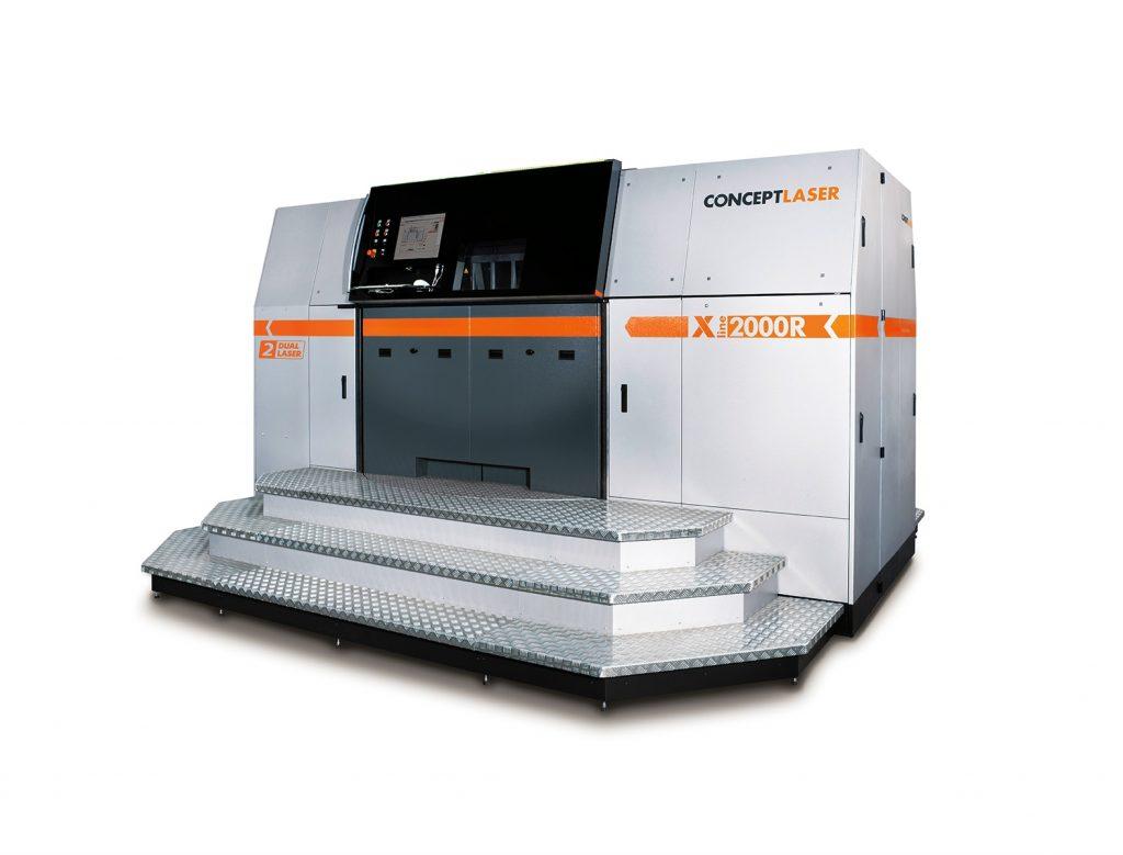 Das Nachfolgemodell der X line 1000R, die X line 2000R von Concept Laser (Bauraum: 800 x 400 x 500 mm), ausgestattet mit 2x1.000 W Lasern.