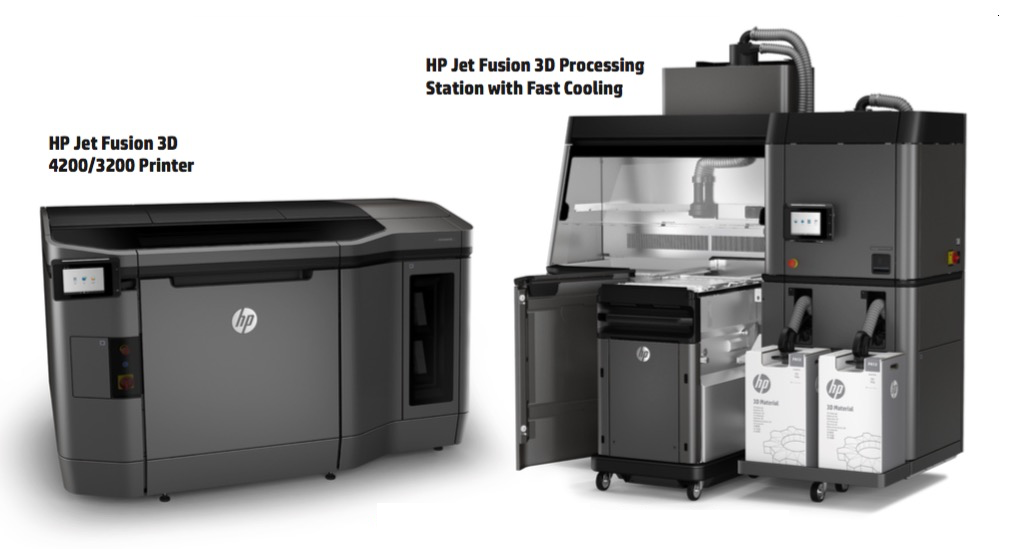 HP Jet Fusion 3D 3200/4200 und Processing Station mit Fast Cooling