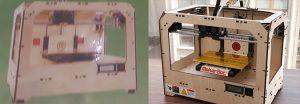 Links der 3D Drucker aus Nordkorea und rechts der MakerBot Replicator