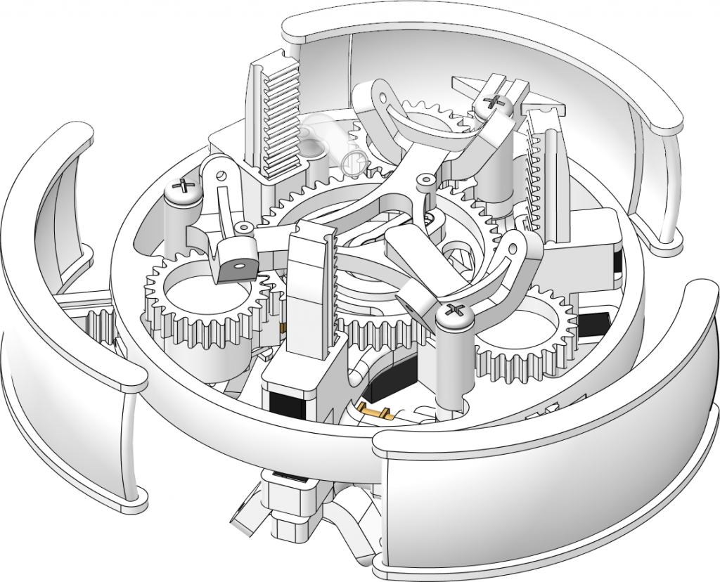 Die komplexen Segmente, die für die Bewegungdes Regenwurms verantwortlich sind, wurden mittels 3D Drucker hergestellt.