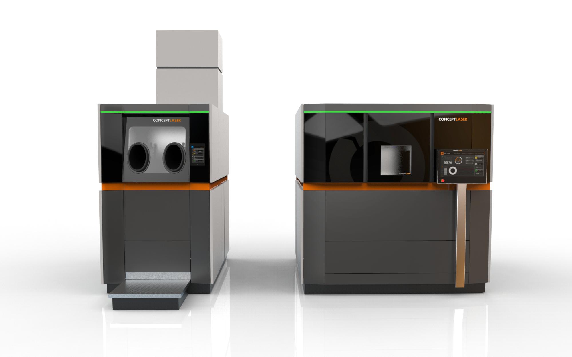 Basisgedanke der neuen Anlagen-Architektur von Concept Laser: Entkoppelung von Handling- und Prozesseinheit. Bild: Concept Laser