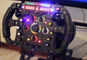 Das 3D gedruckte Lenkrad im Betrieb