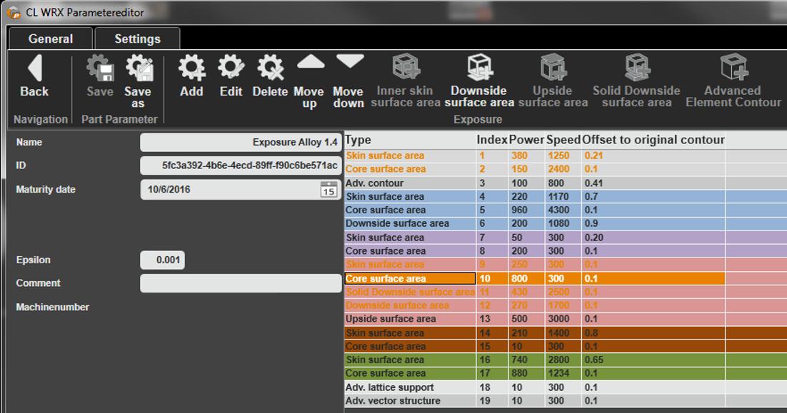 Beispielhafte Oberfläche der CL WRX Parameter Software, mit welcher alle Einstellungsmerkmale eines Parameters eingesehen und editiert werden können. Bild: Concept Laser
