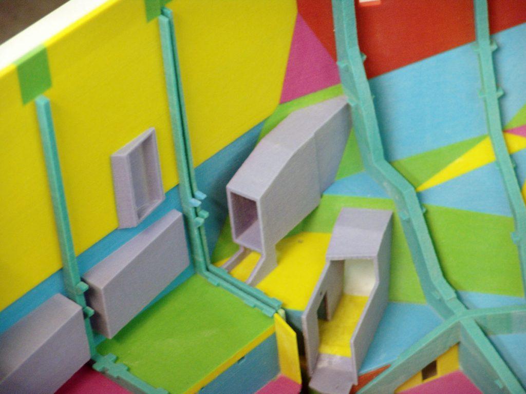 Detailaufnahme des farbigen 3D Druck Modells der Elbphilharmonie © Rapidboject GmbH