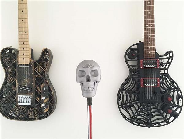 """3d gedrucktes skeletor2 - Olaf Diegal Designs 3D-druckt Schädel-förmiges Mikrofon """"Skeletor"""""""