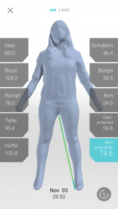 Screenshot Bodyscanning App 169x300 - 3D Scanner von twinster revolutioniert Bekleidungsindustrie