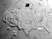 3D-gedruckte topologische Karte der USA