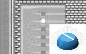 Nanoscribe LensOnChip Writing 2018 300x188 - 3D-Druck auf Mikrochips für photonische Systeme und MEMS