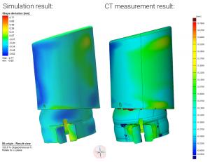 Vergleich Simulation und tatsächlicher Verzug 300x231 - Kooperation von Ampower und Simufact Engineering ermöglicht neuen Zugang zur Simulation additiver Fertigungsprozesse