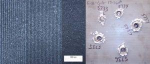 Querschnitt eines Aluminium Titan Gradienten links und ballistische Pr%C3%BCfung einer solchen Platte rechts 300x129 - Fabrisonic verwendet UAM-3D-Druckprozess, um FGMs zu erzeugen