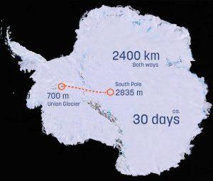 Antarctica route 300x255 - Clean2Antartica fährt solarbetriebene 3D-gedrucktes Plastikfahrzeuge zum Südpol