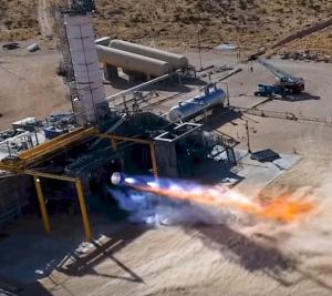 Blue Origin BE4 Test 300x267 - Blue Origin beginnt Bau von Fabrik für Raketenantriebe