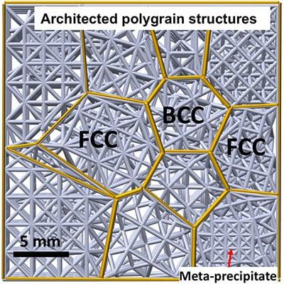 Schematische Darstellung von Polygrain Strukturen - Schadentolerante, von der Kristallmikrostruktur inspirierte Materialien - Metakristalle