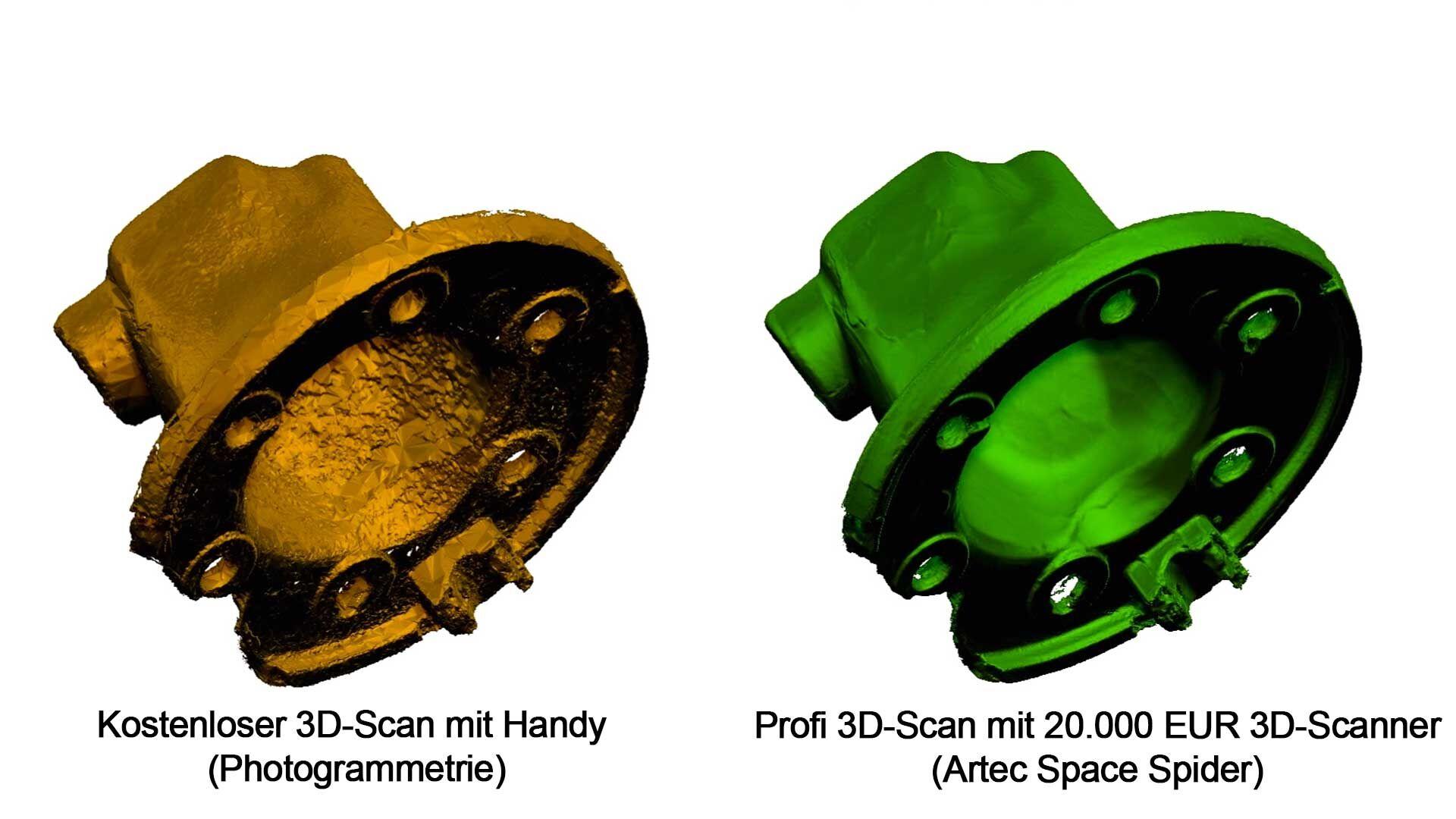 Vergleich kostenloser 3D-Scan mit dem Profi 3D-Scan