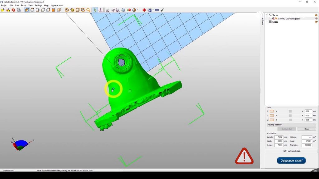 "Import des original 3D-Scan ""VW-Tankgeber.stl"" in Netfabb."