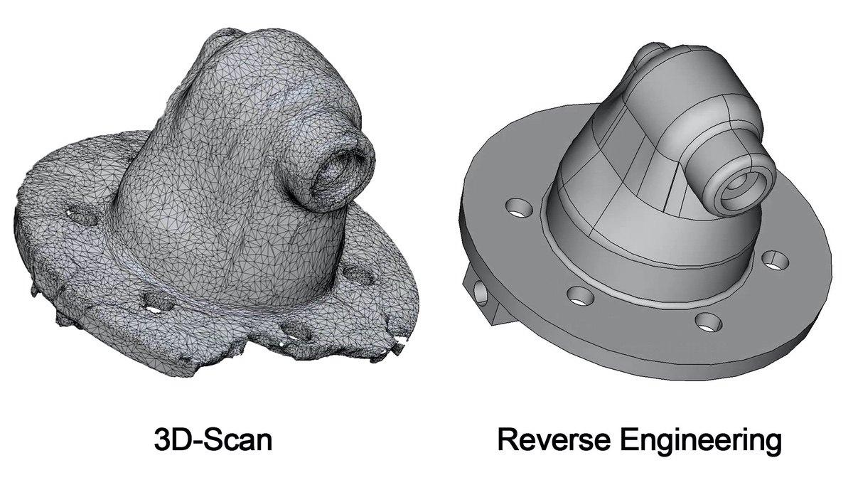 Original STL-Datei (3D-Scan) des Tankgebers und fertige STEP-Datei nach der Rekonstruktion in FreeCAD.