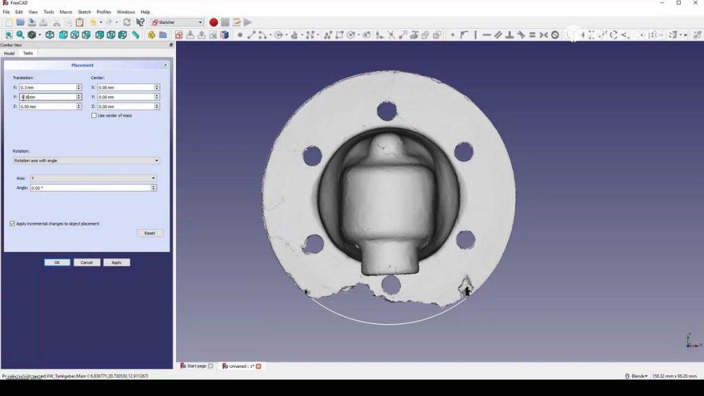 Zum Abschluss in die Oberansicht wechseln und das Bauteil im Zentrum des Kreises platzieren. So ist es optimal im Koordinatensystem von Free CAD ausgerichtet, was die CAD-Konstruktion enorm vereinfacht.