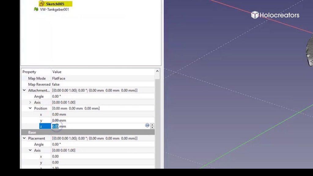 """Nun die Z-Achse im Menü """"Position"""" ändern, damit sich die Ebene auf der gleichen Höhe wie die Schnittkante befindet."""