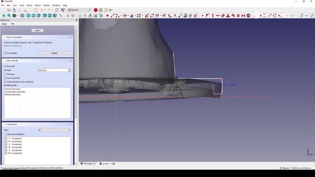 Und den Querschnitt des Flansch konstruieren.