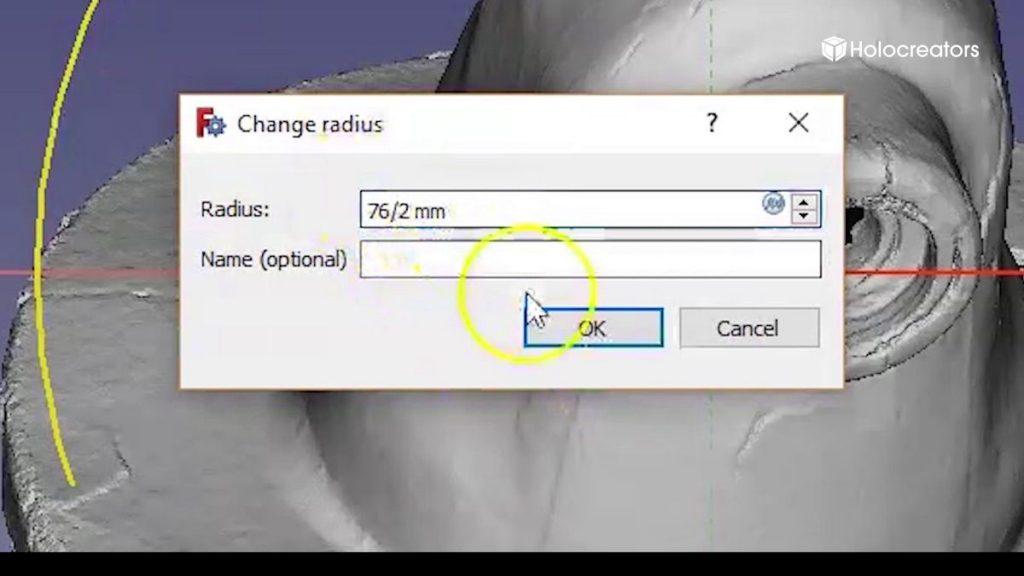 Geben Sie 76 mm/ 2 ein. FreeCAD wird automatisch den Kreis mit einem Radius von 38 mm bemaßen. Die Referenzkreis-Skizze ist nun fertig.