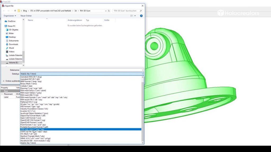 Jetzt kann das Bauteil als STEP-Datei exportiert werden. Unsere STEP-Datei steht hier zum Download bereit.