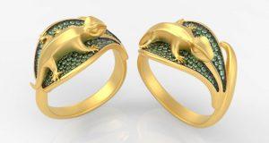"""Die """"Geko Ring Collection"""" Schmuckstücke von Luca Palmini, entworfen und gerendert mit Inspire Studio. Bildquelle: Luca Palmini."""