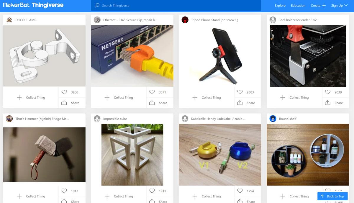 Thingiverse 3D-Druck-Vorlagen
